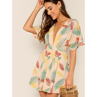 SHEIN Plunging Tie Open Back Tropical Dress