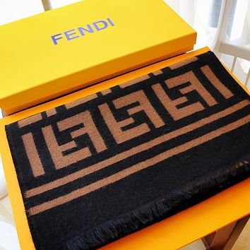 Fendi autumn and winter jacquard double F letter long shawl scarf