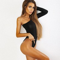 Cotton One Shoulder Slope Neckline Bodysuits Single Long Sleeve 2018 Summer New Women Sexy Body Suit Black Solid Swimsuit Female