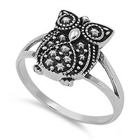 925 Sterling Silver Vintage Owl Ring 14MM
