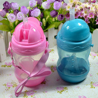 Baby bottle 280ml Baby Kids Straw Cup with Handles Child Bottle Sippy Cups Children Learn Drinking Water Straw Training Cup