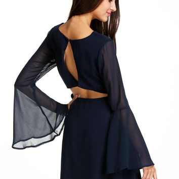 Navy Bell Sleeve Backless Dress