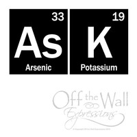 ASK Periodic table of elements decal, teacher, classroom decor, geekery, science