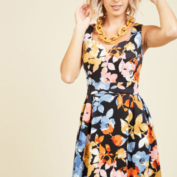 Sassed As You Can Dress in Black Floral | Mod Retro Vintage Dresses | ModCloth.com