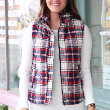 Bonfire Snuggles Plaid Quilted Puffer Vest {Red+Navy}