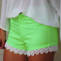 High On Lace Shorts: Neon Green | Hope's
