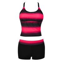2 Two Piece Bikini TS#504 Women Plus Size Gradient Tankini Bikini Swimwear Swimsuit Bathing Suit   KO_21_2