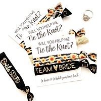 Will you help me tie the knot hair tie favors, bridesmaid proposal, team bride