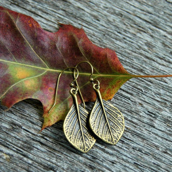 Antiqued Brass Leaf Earrings . Bohemian Earrings . Fall Wedding Jewelry . Christmas Gifts for Women . Stocking Stuffers . Best Friend Gifts