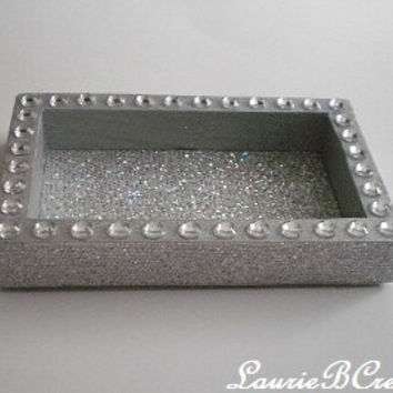 "GLITTER & BLING Jewelry or Office Supply Organizer/ Tray - Sparkling Silver or Gold - 5"" x 3"""