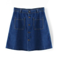 LUCLUC Blue Denim Skirt with Buttons - LUCLUC
