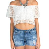 Laced Overlay Crop Top - White