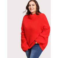 Eyelet Detail Oversized Drop Shoulder Jumper
