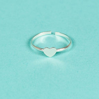 100% Silver Sterling Heart Pinky ring