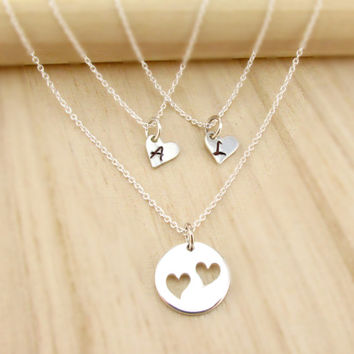 Mother Daughter Necklace Set, Three Necklaces, Initial Hearts, Mother of Two Daughters, Monogrammed Mom Jewelry, Sterling Silver, Two Hearts