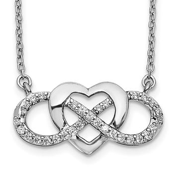 14k White Gold Real Diamond Infinity Heart 18 inch Necklace