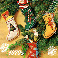 """PDF PATTERN • 4 Tiny Xmas Stockings SEWING Pattern • Embroidery Pattern 3 1/2"""" by 5"""" • Christmas Tree Oranaments • 1970s Vintage Christmas"""