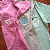 Monogram Comfort Colors Pocket Tee by ShirtsByAbby on Etsy