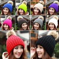 Winter Beanie Classic Tight Knitted Fur Pom Poms Hat Women Cap