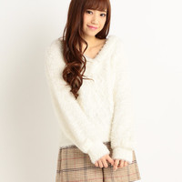 LIZ LISA Fluffy V-Neck Knit Top