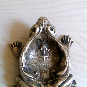 Brass Frog Ashtray/ Brass Frog Trinket Tray/ Antique Frog/ Vintage Frog Tray