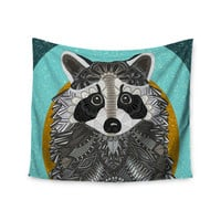 "Art Love Passion ""Racoon in Grass"" Gray Teal Wall Tapestry"