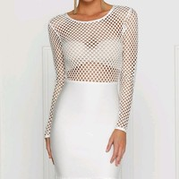 Winning Streak White Long Sleeve Sheer Mesh Fishnet Scoop Neck Bodycon Bandage Midi Dress - Sold Out