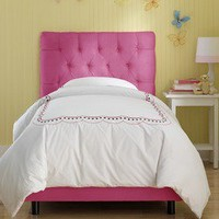 Skyline Furniture Tufted Micro-Suede Youth Bed in Hot Pink   Wayfair