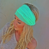 Bright Mint Green Mesh Headband Wide Women's Turban Style Hair Covering