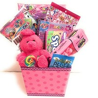 Lisa Frank Easter Holiday Gift Basket or Birthday Basket - Play&GoPack, Candy,Stickers, Coloring Book, Pink Plush Teddy Bear - 10 pieces