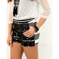 Leave It To Me Black & White High Waisted Crochet Overlay Shorts