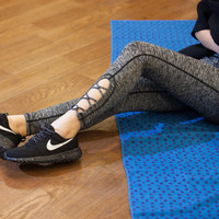 Women Hollow Bandage Sexy Slim Fit Sport Suit Fitness Professional Sportswear Stretch Exercise Yoga  Erotic Trousers Pants Legging _ 6855