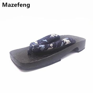 Summer Slippers Shoes Black High quality Male Slippers Men Cansual Flip Flops Woods Men Clogs&geta Print Male Clogs&geta Japan