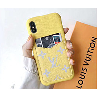LV 2019 new iPhone 8 leather case card phone case cover yellow