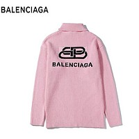 Balenciaga Fashion New Letter Print Women Men Keep Warm Leisure Long Sleeve Top Sweater Pink