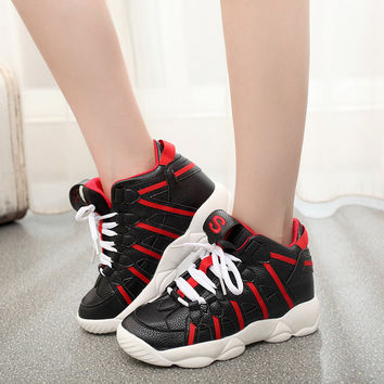 Autumn Winter Women Classic Canvas Shoes Patchwork Cross Straps Ankle Shoes High-Top Fashion Sneakers