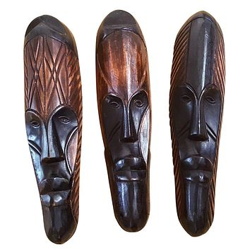 "Set of (3) Masks :12"" - 13"" African Gabon Cameroon Wood Fang Masks: Brown and Black"