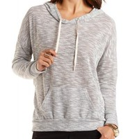 Marled Sweater Knit Hoodie by Charlotte Russe - Gray Combo