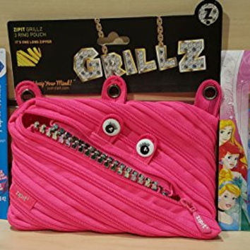 Zipit GRILLZ Teeth Monster 3 Ring Pink Binder Pouch, 4 Pack Princess Mechanical Pencils, and 4 Pack Frozen Mechanical Pencils