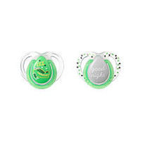 Tommee Tippee BPA Free 0-6 Months 2 Pack Night Time Pacifier - Green Zzz/Good Night