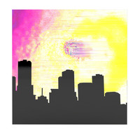"""Infinite Spray Art """"Skylined"""" Pink Yellow Luxe Square Panel"""