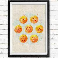 Dragon Ball Watercolor Print, DBZ Baby Nursery Room Art, Minimalist Home Decor Not Framed, Buy 2 Get 1 Free!