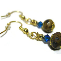 Blue Brown Yellow Beaded Dangle Drop Earrings Gold Plated with Czech and Swarovski Beads Summer Ladies Sparkle Jewelry