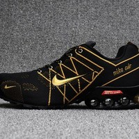 Dependable Nike Air Ultra Max 2018. 5 Shox Black Gold Trainers Men's Running Shoes