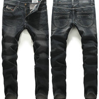 Mens Slim Straight Casual Jeans
