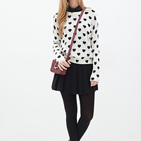 FOREVER 21 Heart Print Sweater Cream/Black