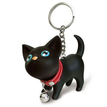 Meow doll keychain Cat Kitten Keyring Bell Toy couple Lover Key Chain Rings For Handbag cute gift #EE