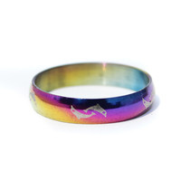 Peaceful Engraved Rainbow Titanium Band Rings