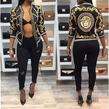 Versace Trending Women Stylish Personality Print Long Sleeve Zipper Jacket Coat I/A