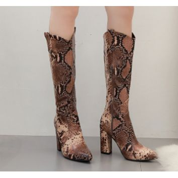 Hot style serpentine gauze thigh-high boots with zipper thick shoes